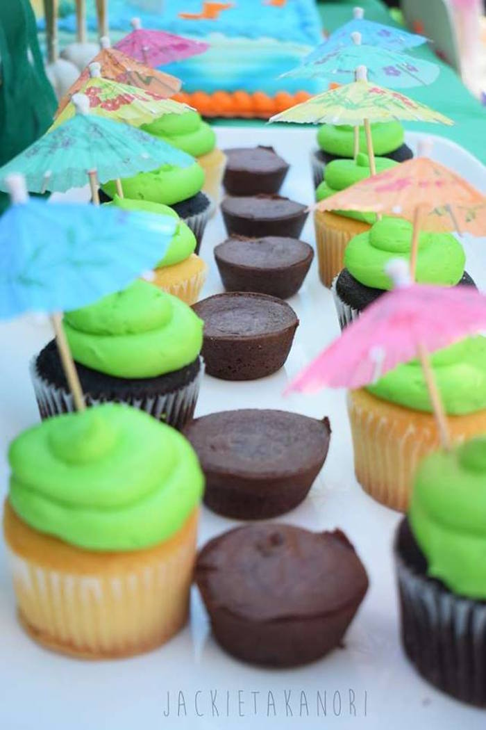 Umbrella cupcakes from a Despicable Me 3 Luau Party on Kara's Party Ideas | KarasPartyIdeas.com (5)