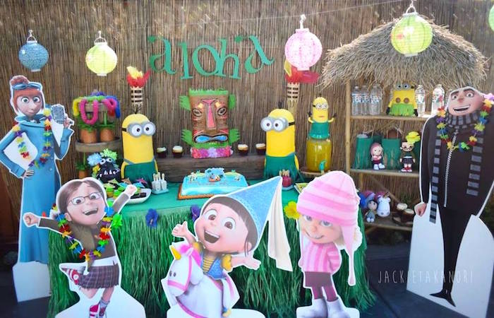 Dessert table spread from a Despicable Me 3 Luau Party on Kara's Party Ideas | KarasPartyIdeas.com (28)