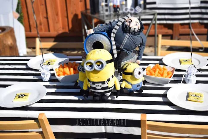 Gru guest tabletop from a Despicable Me 3 Luau Party on Kara's Party Ideas | KarasPartyIdeas.com (24)