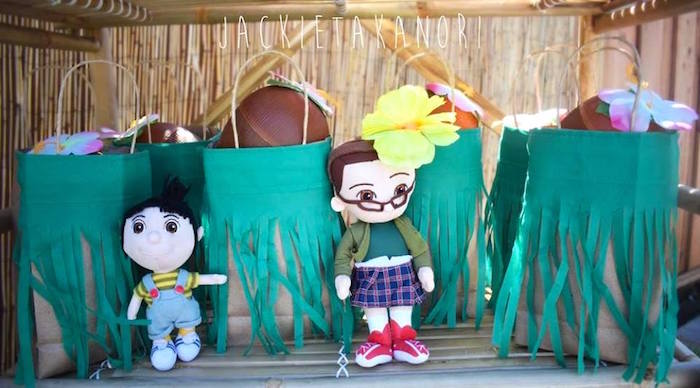 Grass skirt gift bags from a Despicable Me 3 Luau Party on Kara's Party Ideas   KarasPartyIdeas.com (23)