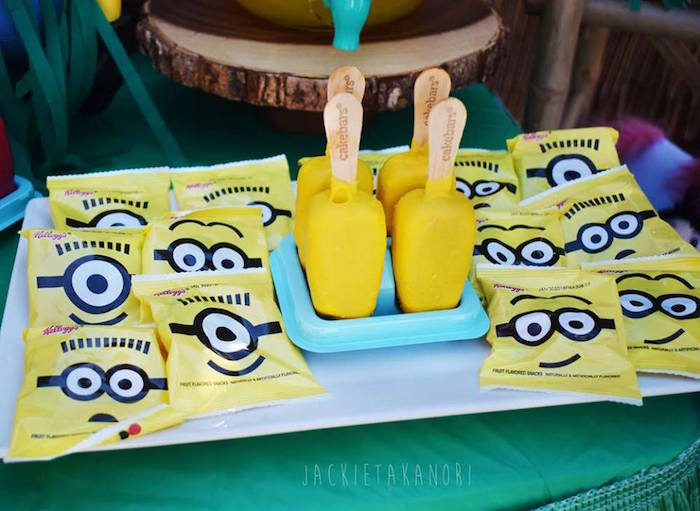 Minion pops and fruit snacks from a Despicable Me 3 Luau Party on Kara's Party Ideas | KarasPartyIdeas.com (22)