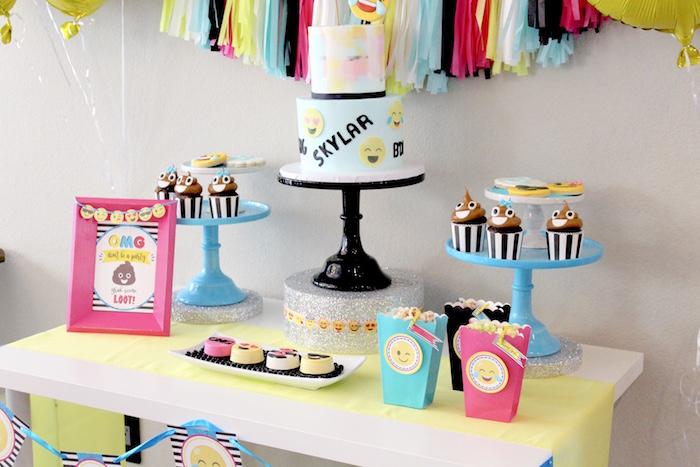 Dessert table from an Emoji Birthday Party on Kara's Party Ideas | KarasPartyIdeas.com (11)