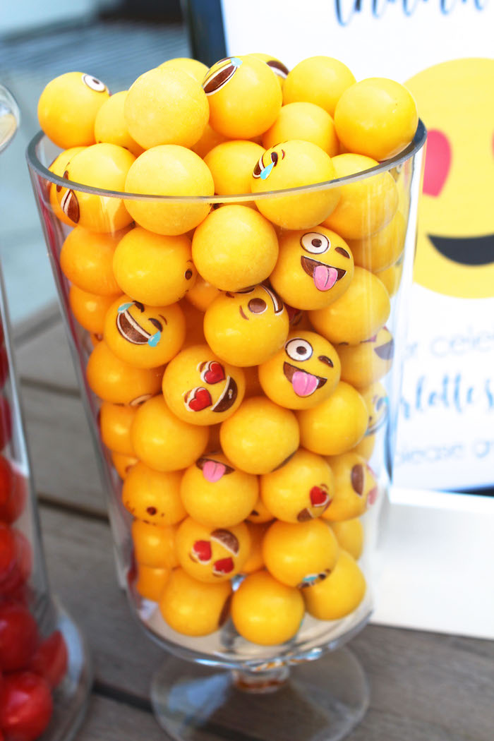 Emoji gumballs from an Emoji Birthday Party on Kara's Party Ideas | KarasPartyIdeas.com (30)