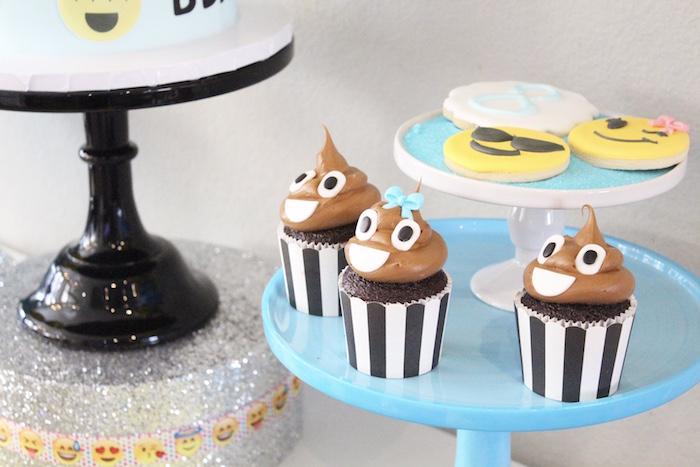 Emoji cupcakes & cookies from an Emoji Birthday Party on Kara's Party Ideas | KarasPartyIdeas.com (8)
