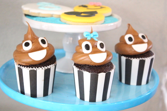 Poop Emoji Cupcakes from an Emoji Birthday Party on Kara's Party Ideas | KarasPartyIdeas.com (7)