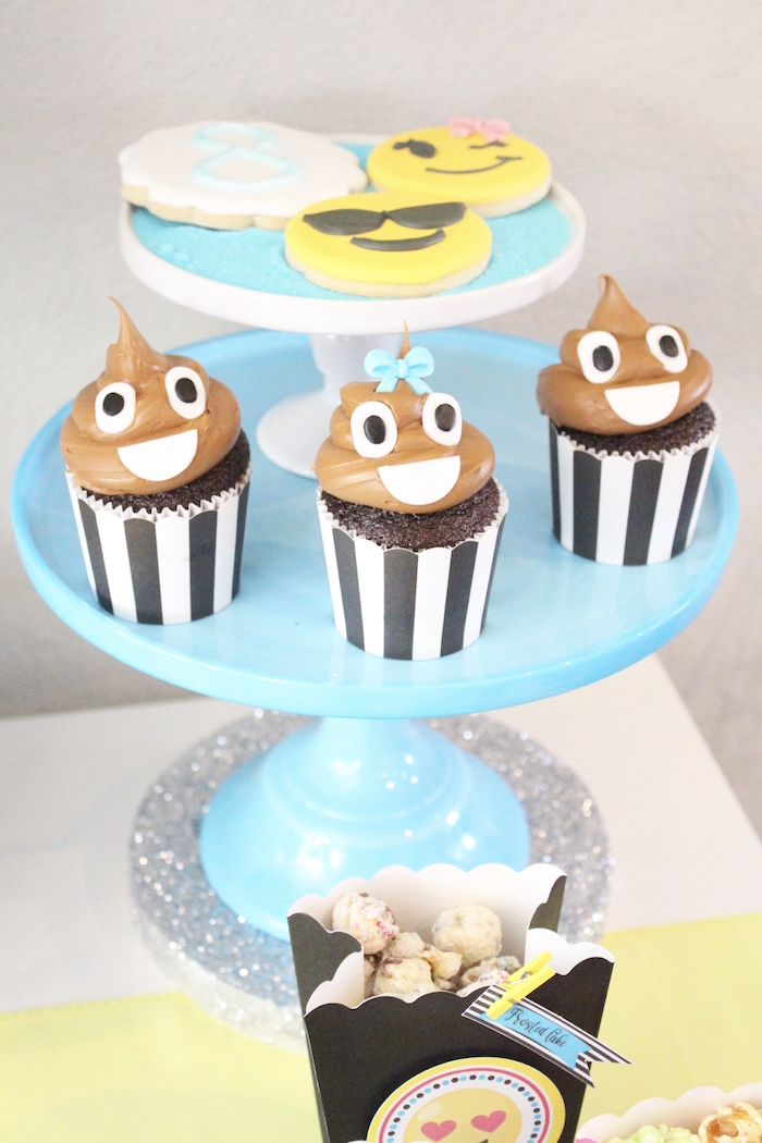 Poop Emoji Cupcakes from an Emoji Birthday Party on Kara's Party Ideas | KarasPartyIdeas.com (6)