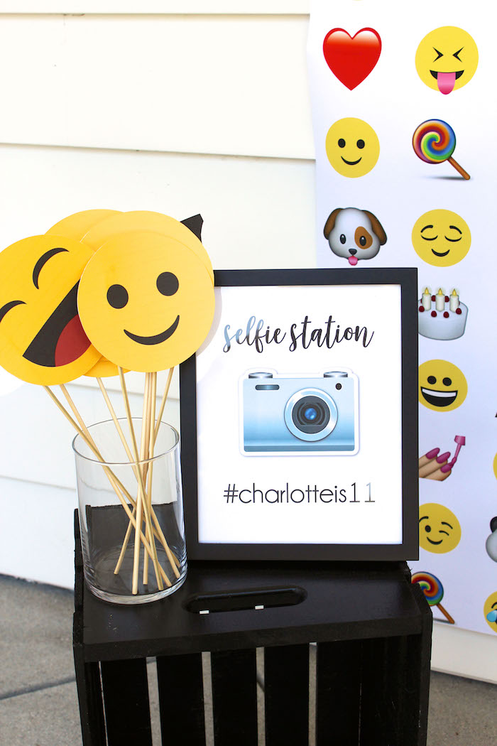 Emoji photo booth from an Emoji Birthday Party on Kara's Party Ideas | KarasPartyIdeas.com (27)