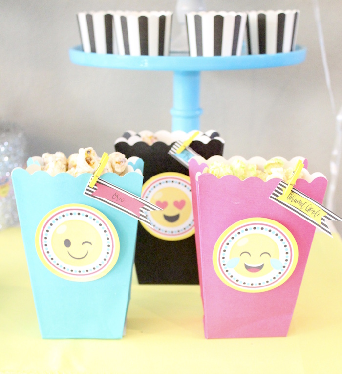 Emoji popcorn boxes from an Emoji Birthday Party on Kara's Party Ideas | KarasPartyIdeas.com (23)