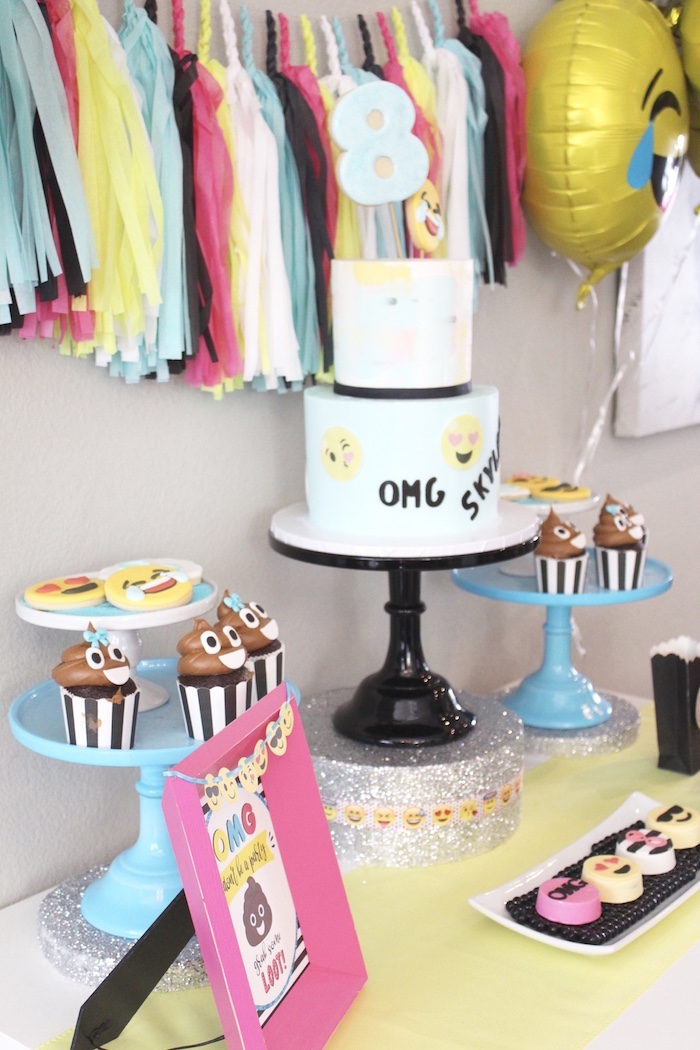 Cakescape from an Emoji Birthday Party on Kara's Party Ideas | KarasPartyIdeas.com (4)