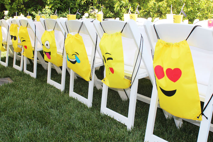 Emoji backpacks from an Emoji Birthday Party on Kara's Party Ideas | KarasPartyIdeas.com (25)