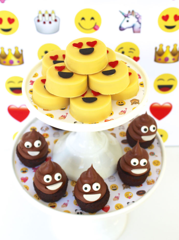Emoji Oreos and cupcakes from an Emoji Birthday Party on Kara's Party Ideas | KarasPartyIdeas.com (18)