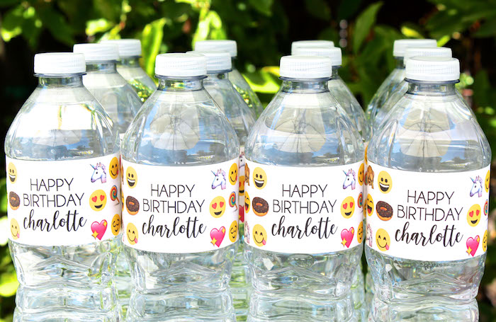 Emoji water bottles from an Emoji Birthday Party on Kara's Party Ideas | KarasPartyIdeas.com (44)