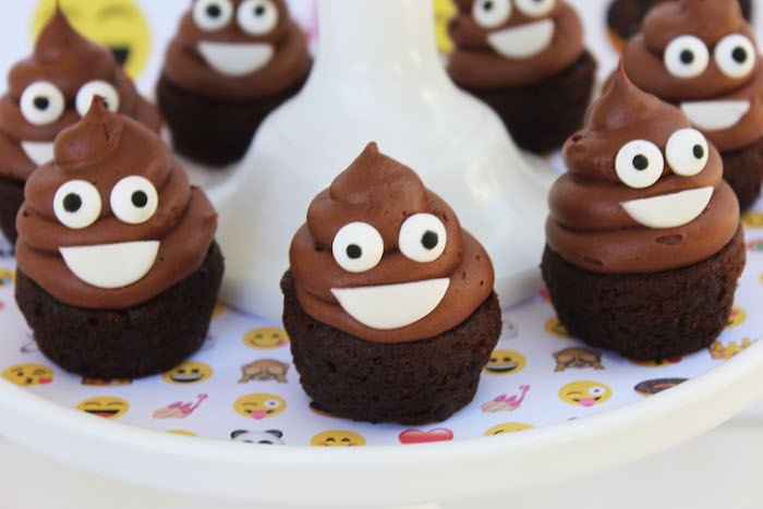 Poop emoji cupcakes from an Emoji Birthday Party on Kara's Party Ideas | KarasPartyIdeas.com (16)