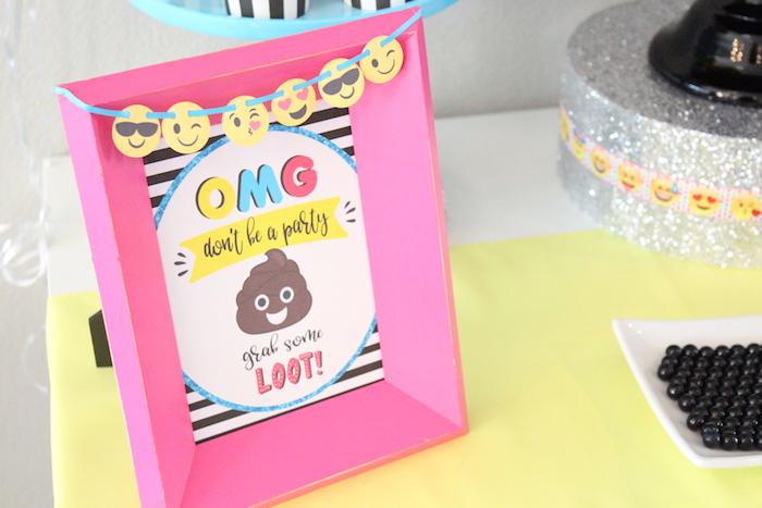 Emoji party signage from an Emoji Birthday Party on Kara's Party Ideas | KarasPartyIdeas.com (21)