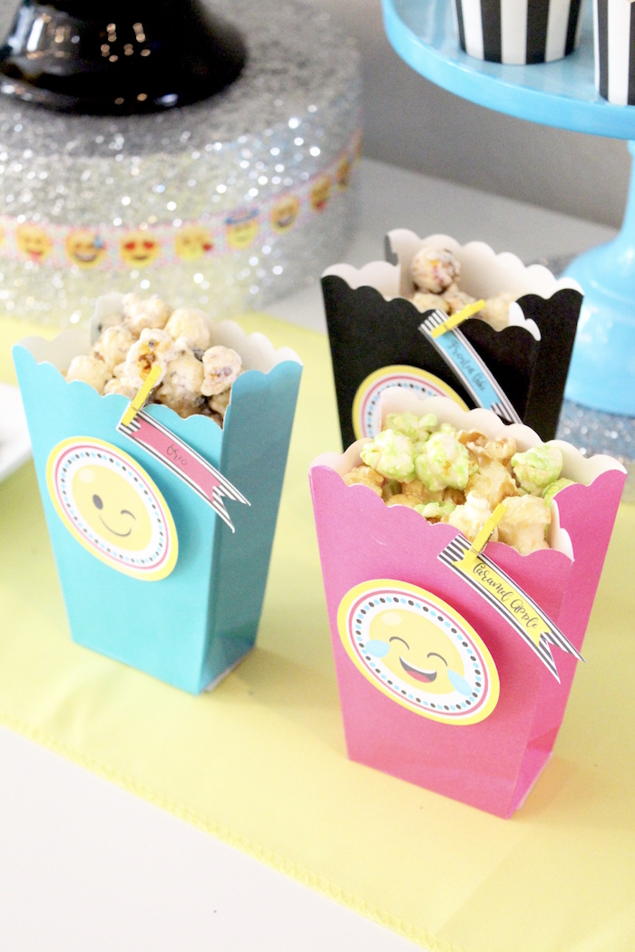 Popcorn boxes from an Emoji Birthday Party on Kara's Party Ideas | KarasPartyIdeas.com (20)