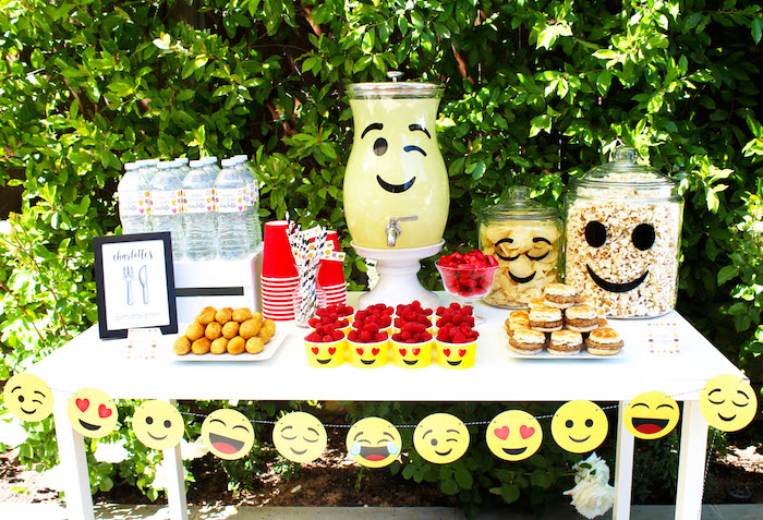 Food, drink and snack table from an Emoji Birthday Party on Kara's Party Ideas | KarasPartyIdeas.com (40)