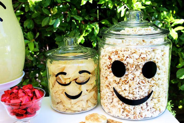 Emoji decal snack tubs from an Emoji Birthday Party on Kara's Party Ideas | KarasPartyIdeas.com (39)