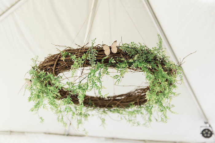Woodland greenery chandelier from an Enchanted FOURest Birthday Party on Kara's Party Ideas | KarasPartyIdeas.com (49)