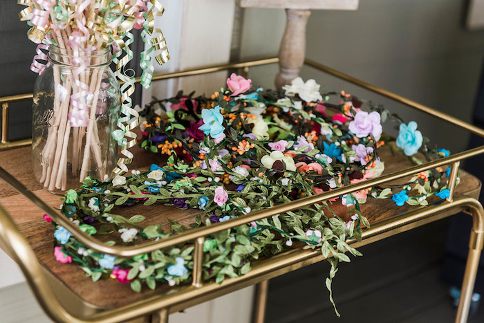 Floral crowns from an Enchanted FOURest Birthday Party on Kara's Party Ideas | KarasPartyIdeas.com (43)