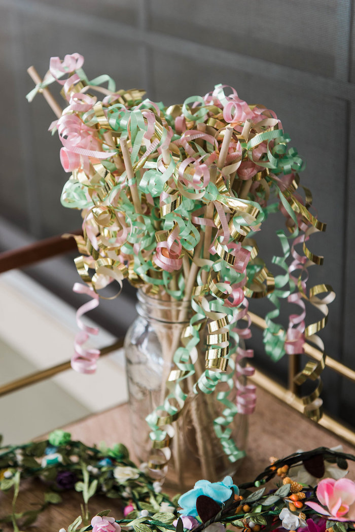 Curling ribbon tassel wands from an Enchanted FOURest Birthday Party on Kara's Party Ideas | KarasPartyIdeas.com (42)