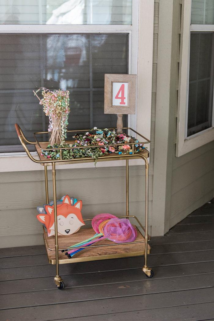 Favor cart from an Enchanted FOURest Birthday Party on Kara's Party Ideas | KarasPartyIdeas.com (41)