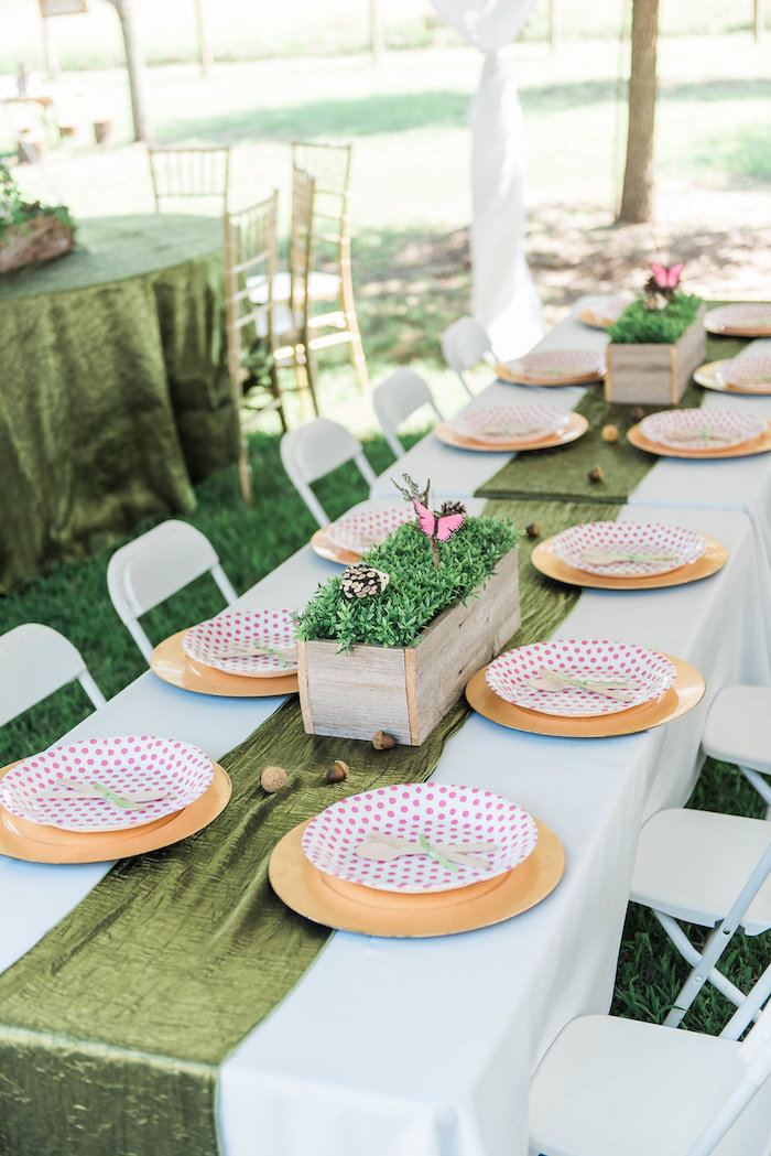 Guest tablescape from an Enchanted FOURest Birthday Party on Kara's Party Ideas | KarasPartyIdeas.com (59)