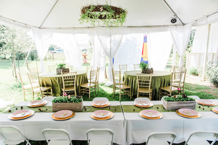 Guest tables from an Enchanted FOURest Birthday Party on Kara's Party Ideas | KarasPartyIdeas.com (58)