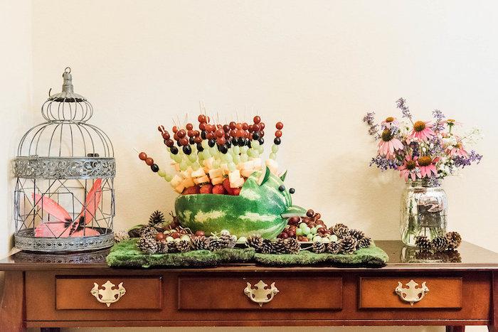 Woodland animal watermelon fruit platter from an Enchanted FOURest Birthday Party on Kara's Party Ideas | KarasPartyIdeas.com (20)