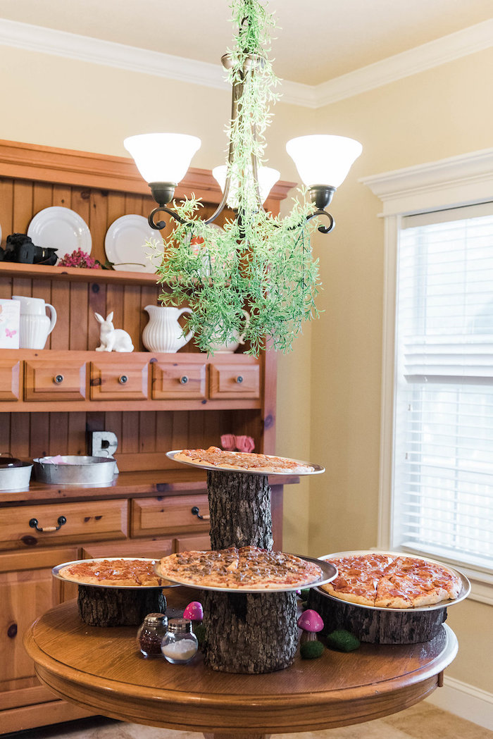 Pizza-topped logs from an Enchanted FOURest Birthday Party on Kara's Party Ideas | KarasPartyIdeas.com (17)