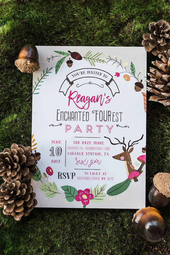 Woodland Party Invite from an Enchanted FOURest Birthday Party on Kara's Party Ideas | KarasPartyIdeas.com (14)