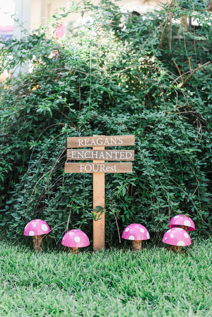 Wooden party sign from an Enchanted FOURest Birthday Party on Kara's Party Ideas | KarasPartyIdeas.com (13)