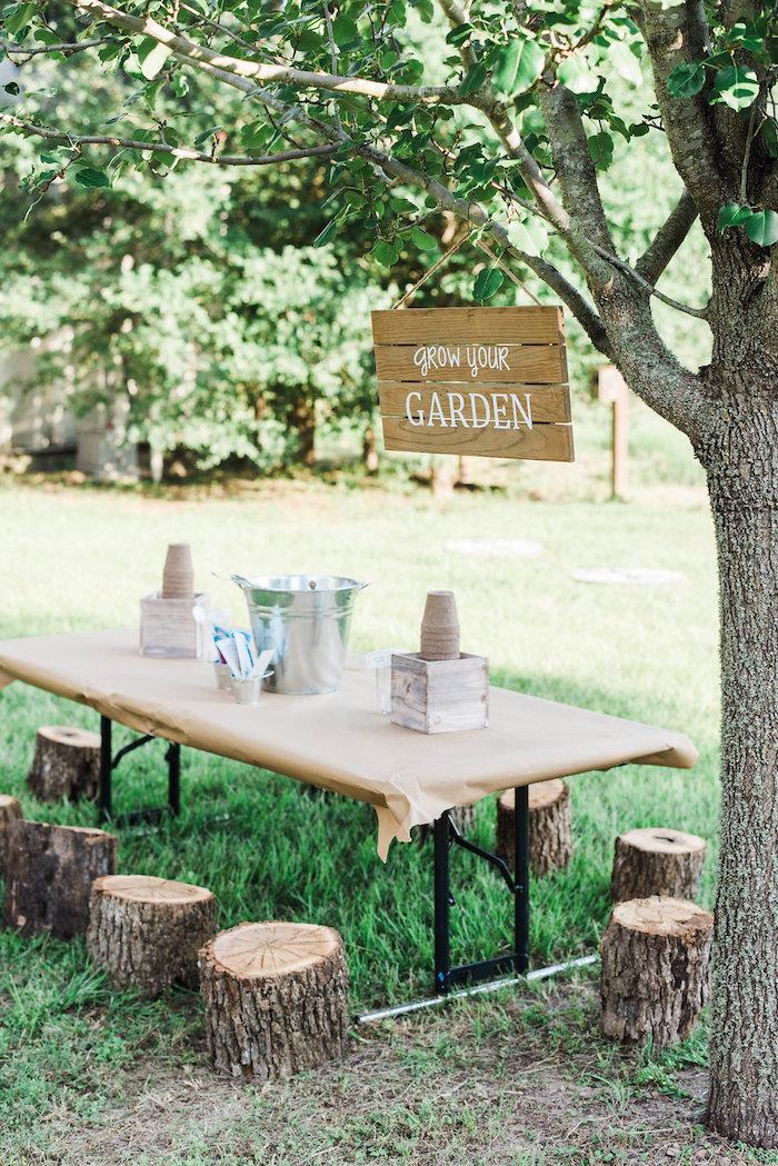 Garden table from an Enchanted FOURest Birthday Party on Kara's Party Ideas | KarasPartyIdeas.com (10)