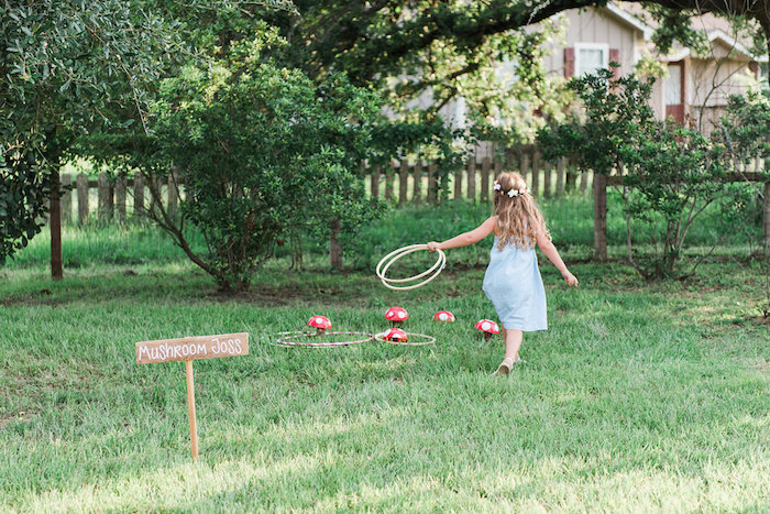 Mushroom toss game from an Enchanted FOURest Birthday Party on Kara's Party Ideas | KarasPartyIdeas.com (8)
