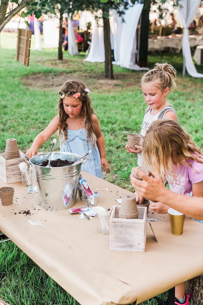 Garden potting activity from an Enchanted FOURest Birthday Party on Kara's Party Ideas | KarasPartyIdeas.com (6)