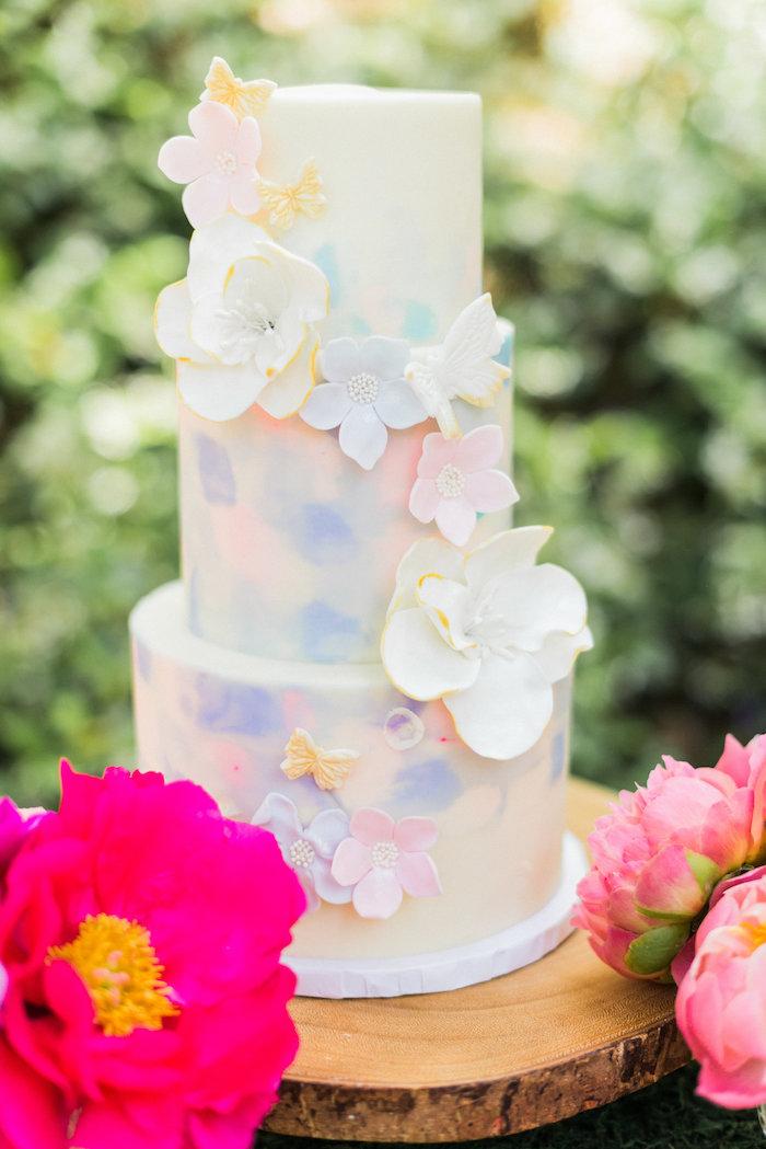 Floral watercolor cake from an Enchanted Fairy Garden Birthday Party on Kara's Party Ideas | KarasPartyIdeas.com (32)
