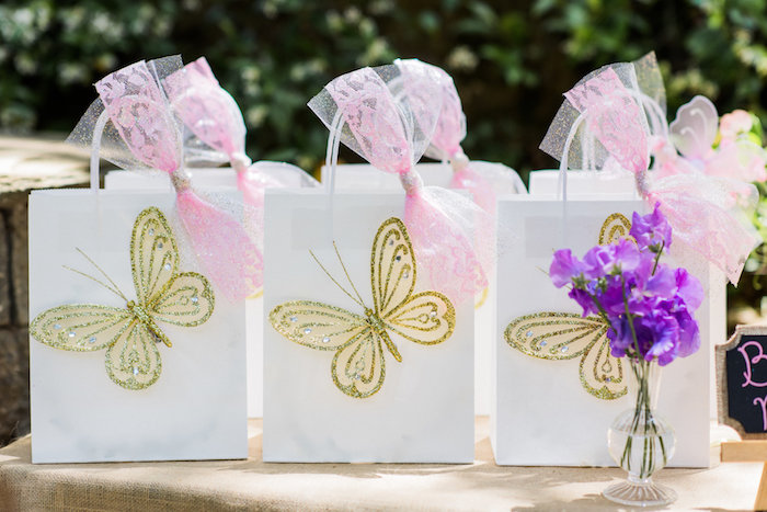 Enchanted butterfly gift bags from an Enchanted Fairy Garden Birthday Party on Kara's Party Ideas | KarasPartyIdeas.com (30)