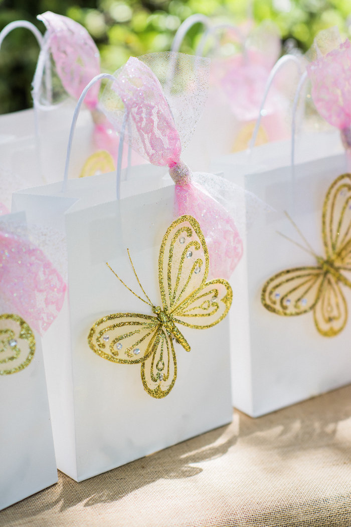 Butterfly gift bags from an Enchanted Fairy Garden Birthday Party on Kara's Party Ideas | KarasPartyIdeas.com (29)