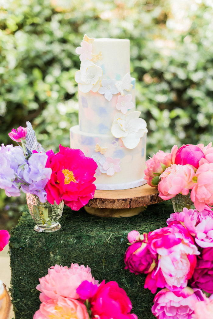 Floral watercolor cake from an Enchanted Fairy Garden Birthday Party on Kara's Party Ideas | KarasPartyIdeas.com (25)