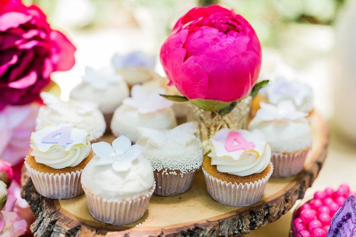 Cupcakes from an Enchanted Fairy Garden Birthday Party on Kara's Party Ideas | KarasPartyIdeas.com (24)