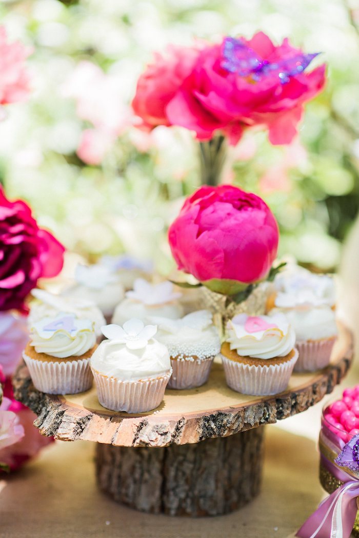 Cupcakes from an Enchanted Fairy Garden Birthday Party on Kara's Party Ideas | KarasPartyIdeas.com (23)