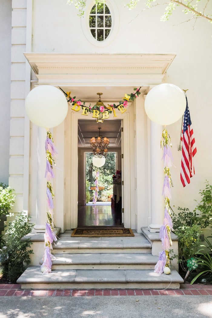 Jumbo balloon entrance from an Enchanted Fairy Garden Birthday Party on Kara's Party Ideas | KarasPartyIdeas.com (41)