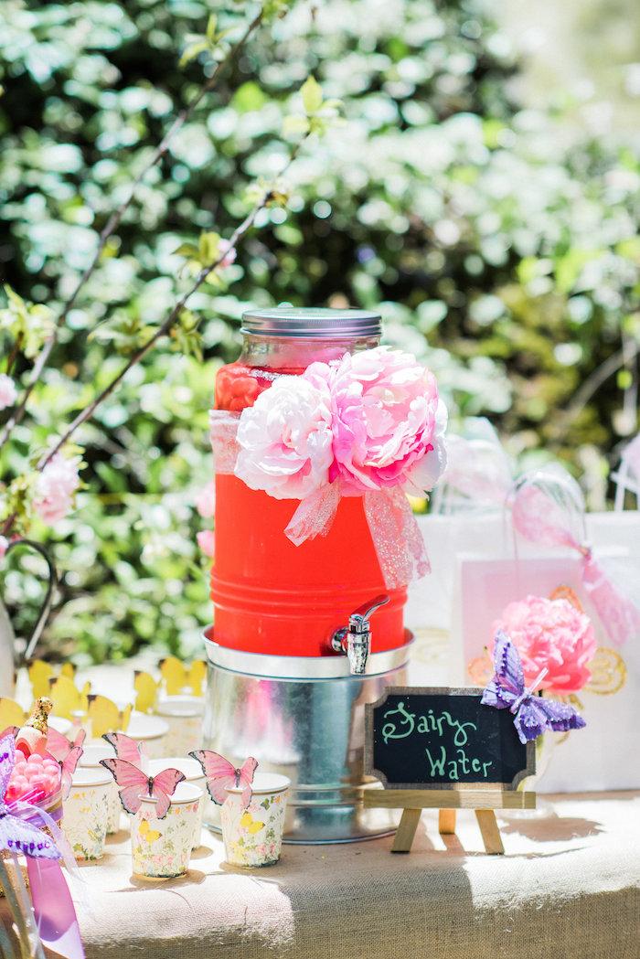 Beverage dispenser from an Enchanted Fairy Garden Birthday Party on Kara's Party Ideas | KarasPartyIdeas.com (22)
