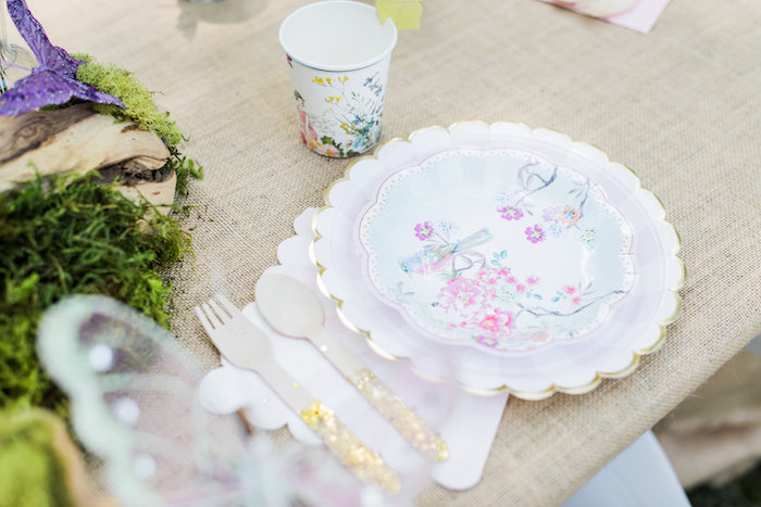 Floral place setting from an Enchanted Fairy Garden Birthday Party on Kara's Party Ideas | KarasPartyIdeas.com (18)