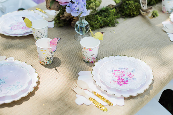 Place settings from an Enchanted Fairy Garden Birthday Party on Kara's Party Ideas | KarasPartyIdeas.com (16)