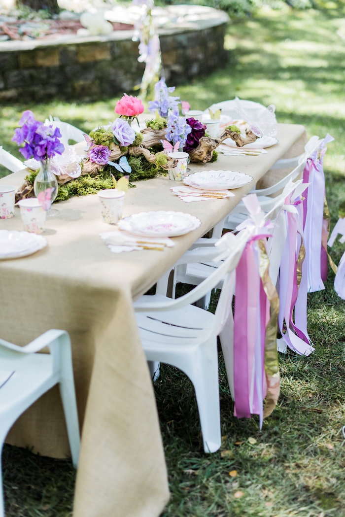 Guest tablescape from an Enchanted Fairy Garden Birthday Party on Kara's Party Ideas | KarasPartyIdeas.com (14)
