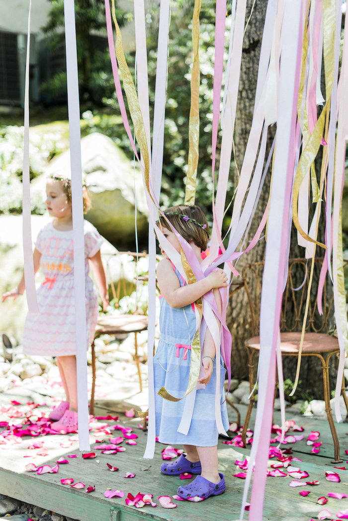 Ribbon streamers from an Enchanted Fairy Garden Birthday Party on Kara's Party Ideas | KarasPartyIdeas.com (13)