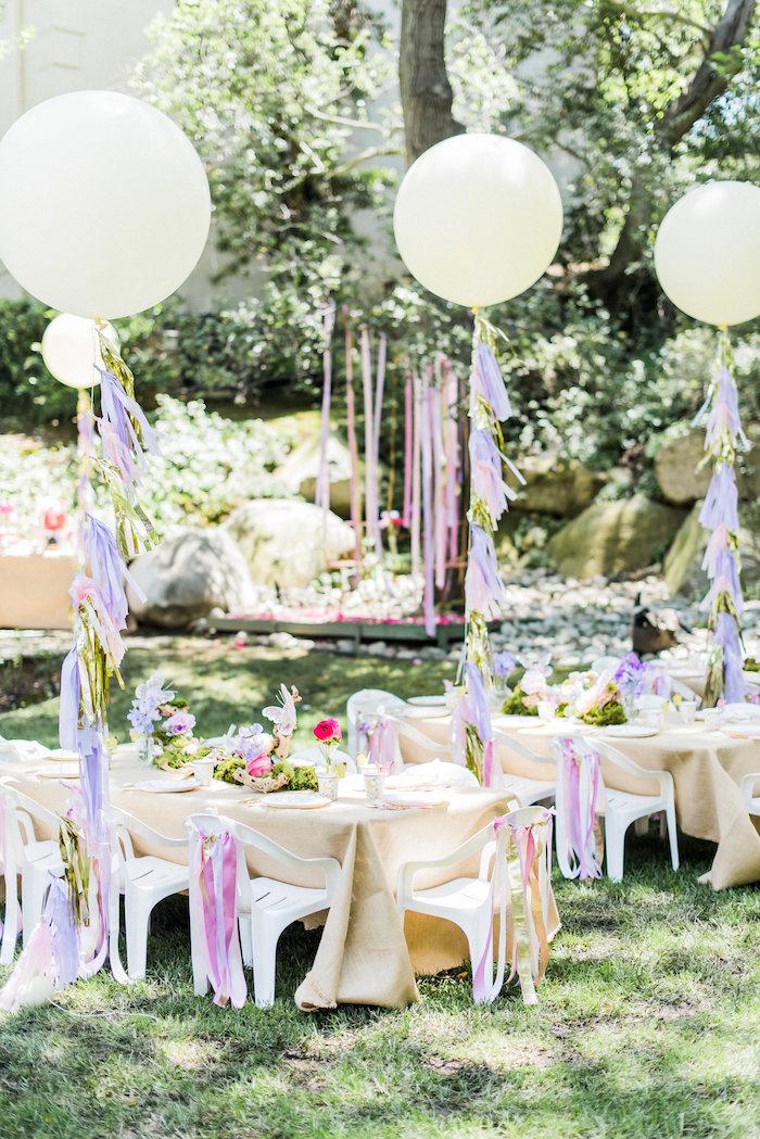 Guest tables from an Enchanted Fairy Garden Birthday Party on Kara's Party Ideas | KarasPartyIdeas.com (12)
