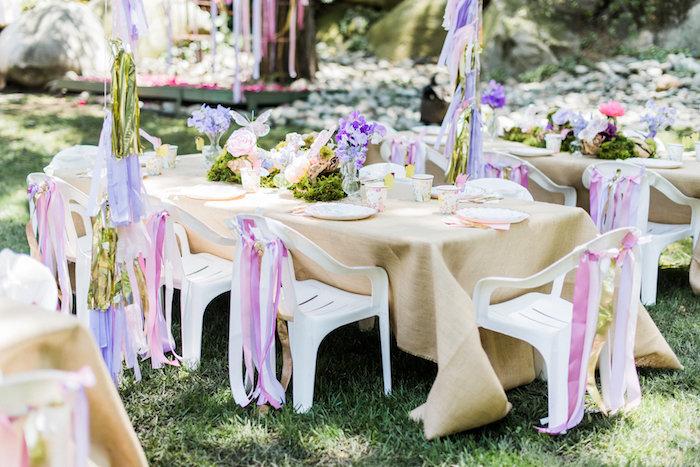 Guest table from an Enchanted Fairy Garden Birthday Party on Kara's Party Ideas | KarasPartyIdeas.com (11)