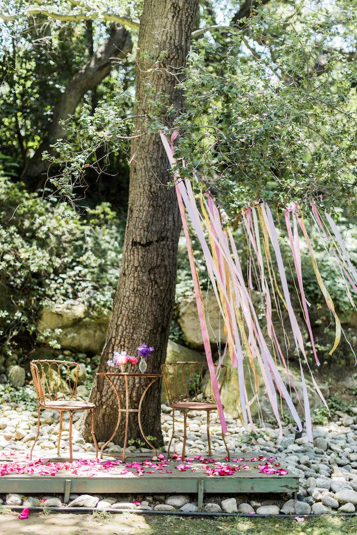 Garden table and ribbon streamers from an Enchanted Fairy Garden Birthday Party on Kara's Party Ideas | KarasPartyIdeas.com (10)