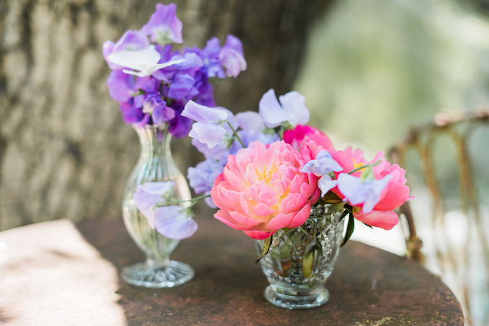 Floral centerpieces from an Enchanted Fairy Garden Birthday Party on Kara's Party Ideas | KarasPartyIdeas.com (9)